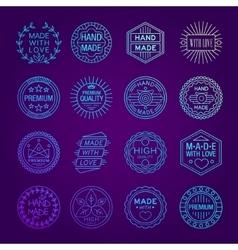 Handmade emblems linear set vector