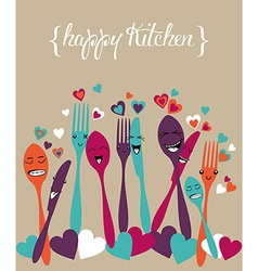 Happy kitchen silverware cartoon set vector