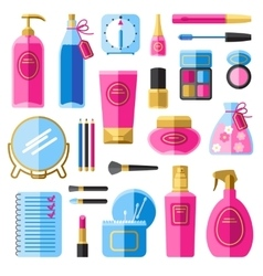 Makeup beauty accessories flat icons set vector