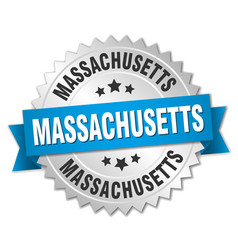 Massachusetts round silver badge with blue ribbon vector