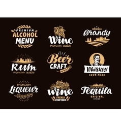 Menu bar icons set labels of alcoholic drinks vector