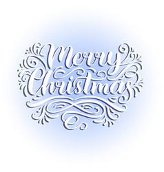 Ornate merry christmas lettering background vector