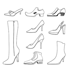 Outlined man women shoes set vector