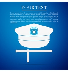 Police cap and baton flat icon on blue background vector