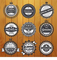 Premium quality guarantee genuine badges vector image vector image