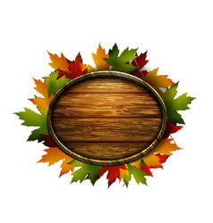 Realistic of autumn wooden signboard vector