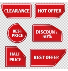 Red paper sale stickers with curled edge vector