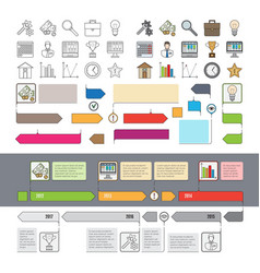 Set of timeline icons with infographic diagrams vector