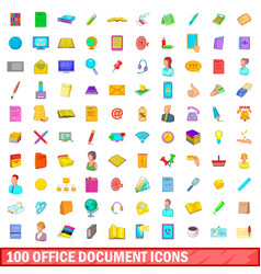 100 office document icons set cartoon style vector