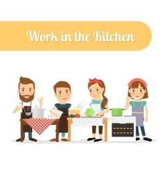 People in the kitchen cooking food vector image