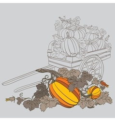 Pumpkins in wagon vector