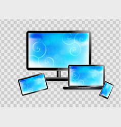 Smartphone laptop monitor tablet set isolated vector