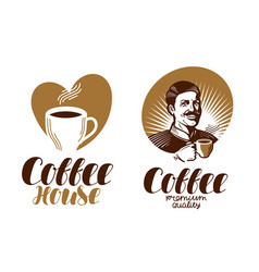 coffee logo cafe espresso coffeehouse vector image