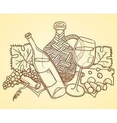 Wine themed drawing vector