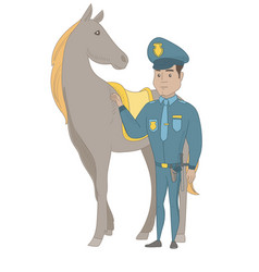 Young hispanic police officer and horse vector