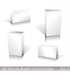 White boxes icon set vector