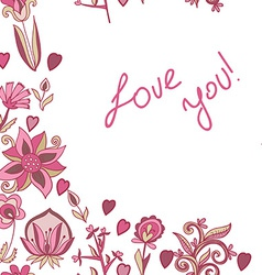 Valentine pattern with hearts flowers vector image
