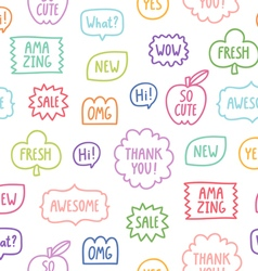 Colorful outline phrases seamless pattern on white vector image