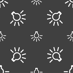 light bulb icon sign Seamless pattern on a gray vector image