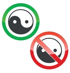 Ying yang permission signs set vector