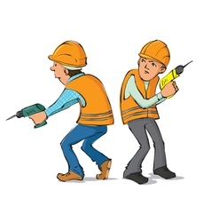 Two builders with drills vector