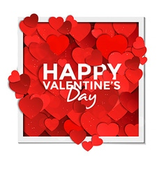 Valentine card with paper hearts 2 vector