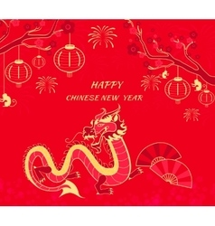 New year background with dragon and monkey vector
