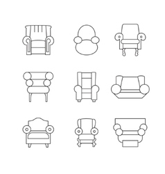 Sofa outline set vector