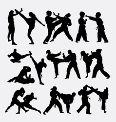 People fighting silhouette vector