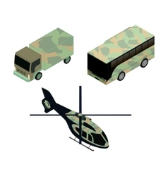 Isometric icons set of military vehicles vector