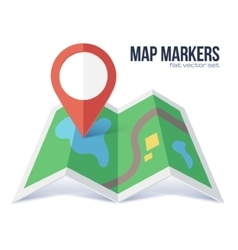 Flat red marker symbol on green map vector