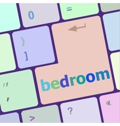 Bedroom word on keyboard key notebook computer vector