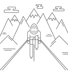 Modern of cyclist from front view vector