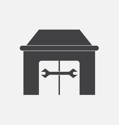 Black icon on white background service station vector