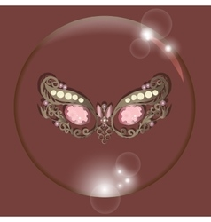 Carnival mask bubble with reflections red vector