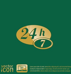 character 24 7 open 24 hours a day and 7 days a vector image