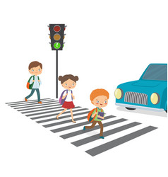 children cross the road to a green traffic light vector image vector image