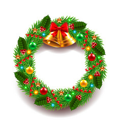 Christmas wreath isolated on white vector image
