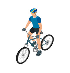 Cyclists in helmet and sportswear vector