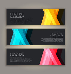 Dark theme abstract banners set vector