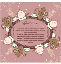 Decorative card with vintage tea or coffee service vector image
