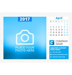 Desk calendar for 2017 year print template with vector