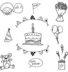 For kids doodle birthday party vector