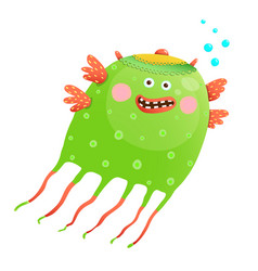 Green happy cute jellyfish for kids vector