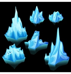 Icebergs set of different shape and size vector