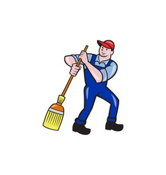 Janitor cleaner holding mop bucket cartoon vector