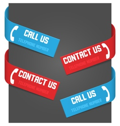 left and right side signs - call us and contact us vector image vector image