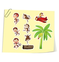 Monkeys and banana tree vector