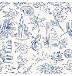 Sketch sea travel pattern vector image vector image