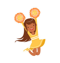 Smiling little girl dancing with yellow pompoms vector